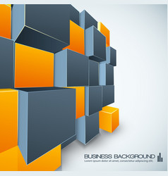 Poster design with orange and grey cubes vector