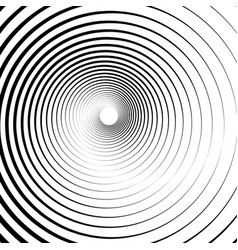 Radiating concentric circles abstract monochrome vector