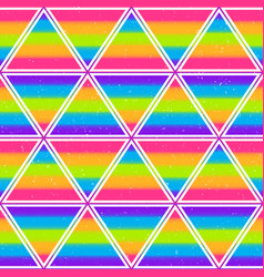 Rainbow triangle seamless pattern with grunge vector