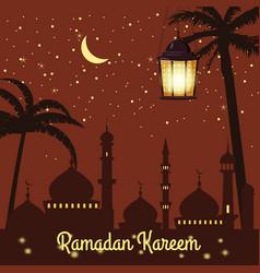 ramadan kareem holiday islam mosques minarets vector image