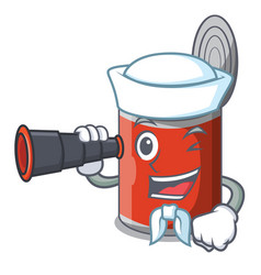 Sailor with binocular canned food on the table vector