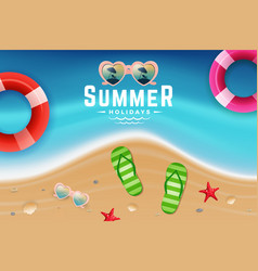 Sand and sea water top view scene for summer vector