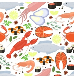 Seafood and spices background for restaurant menu vector image vector image