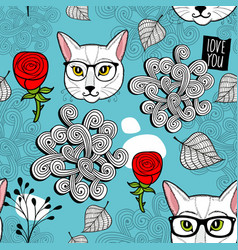 Seamless background with cat portraits vector