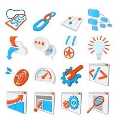 Seo 16 cartoon icons set vector image