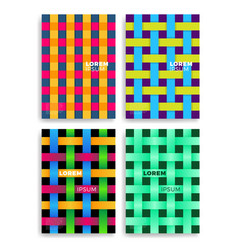 set abstract cards with layers overlap vector image
