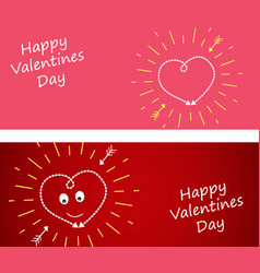 set banner with heart on a dark red and pin vector image