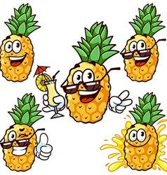 Set cartoon character - Happy pineapple vector