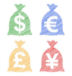 Set currency sack dollar usd eur gbp jpy hatch vector