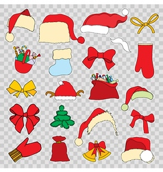 Set doodle Christmas objects vector image