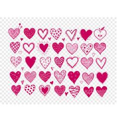 set hand drawn pink doodle sketch hearts vector image