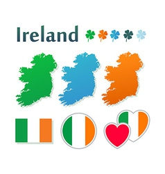 Set icons with flags and map ireland vector