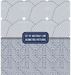 set of 2 geometric line pattern background star vector image
