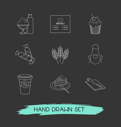 set of food icons line style symbols with apron vector image