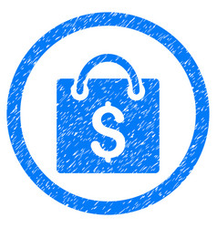 Shopping bag rounded grainy icon vector