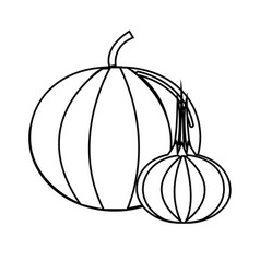 Silhouette pumpkin and onion vegetable icon vector