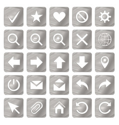 Silver colored metal chrome web icons set vector