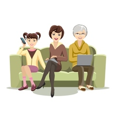 Sitting Females on Couch with Gadgets vector