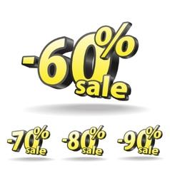 Sixty seventy eighty ninety percent discount icon vector