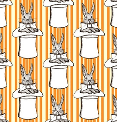 Sketch rabbit in hat in vintage style vector