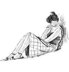 Sketch reading girl vector