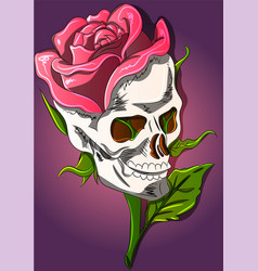 skull and rose growing out it vector image