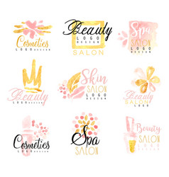 Spa healthy beauty studio set for label design vector