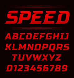 speed style red fonts and numbers vector image
