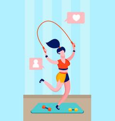 sportswoman jumping rope flat vector image