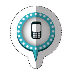 Sticker with cell phone in circular speech with vector
