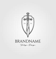 sword shield logo vintage design vector image