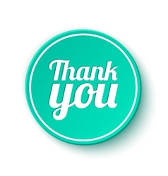 Thank you round label sticker badge vector image