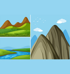 Three mountain scenes with river and field vector