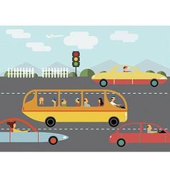 Trafic car silhouette bus - vector
