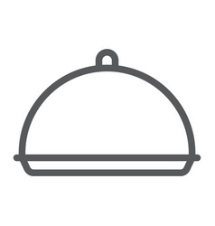 Tray line icon cover and dish platter sign vector