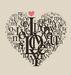 Typography heart vector