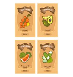 vegetables card set vector image