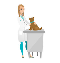 Veterinarian examining dog vector