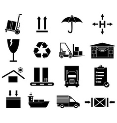 Warehouse logistics icons set vector