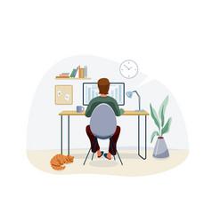 work at home concept design freelancer man vector image