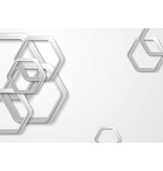 Abstract grey paper tech hexagon shapes background vector image vector image