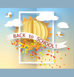 back to school card with birds leaves and sun vector image vector image