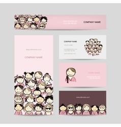 Business cards group of women sketch vector image vector image