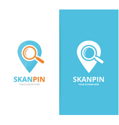 Map pointer and loupe logo combination vector