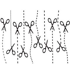 scissors cutting line vector image