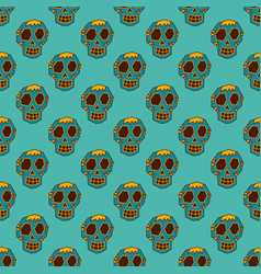 seamless pattern style skulls faces vector image vector image