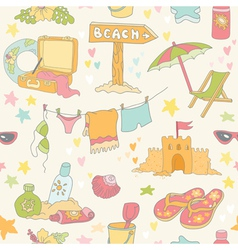 Seaside and Summer Background - Seamless Pattern vector image vector image