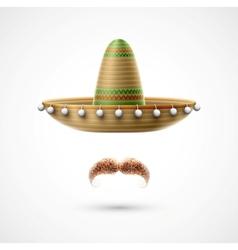 Sombrero and mustache vector image vector image