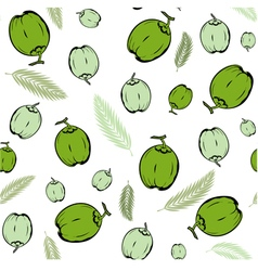 Coconut fruit and palm leaves green seamless vector image vector image