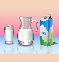 different set of containers for milk vector image vector image